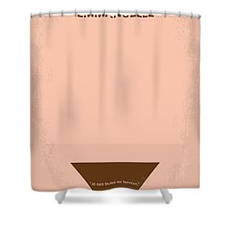No160 My Emmanuelle Minimal Movie Poster Shower Curtain by Chungkong Art
