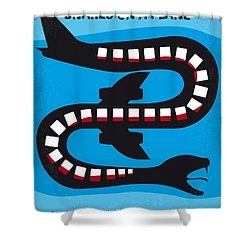 No501 My Snakes On A Plane Minimal Movie Poster Shower Curtain by Chungkong Art