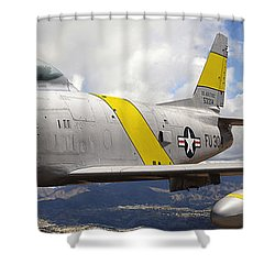 North American F-86 Sabre Shower Curtain by Larry McManus