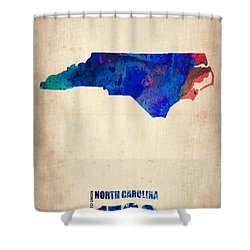 North Carolina Watercolor Map Shower Curtain by Naxart Studio