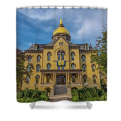Notre Dame University Golden Dome Shower Curtain by David Haskett