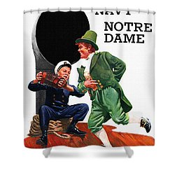 Notre Dame V Navy 1954 Vintage Program Shower Curtain by Big 88 Artworks