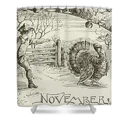 November   Vintage Thanksgiving Card Shower Curtain by American School
