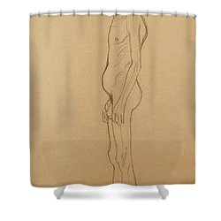 Nude Man Shower Curtain by Gustav Klimt