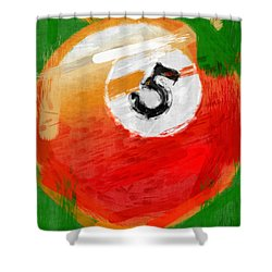 Number Five Billiards Ball Abstract Shower Curtain by David G Paul
