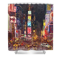 Nyc Times Square Shower Curtain by Ylli Haruni