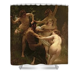 Nymphs And Satyr Shower Curtain by William Adolphe Bouguereau