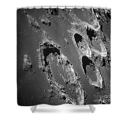 Oblique View Of The Lunar Surface Shower Curtain by Stocktrek Images