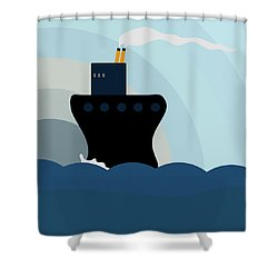 Shower Curtain featuring the painting Ocean Liner by Frank Tschakert