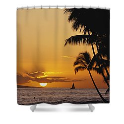 Ocean Sunset Shower Curtain by Erik Aeder - Printscapes