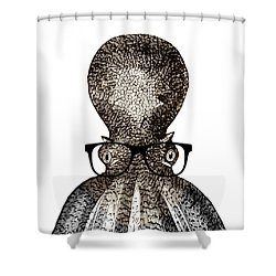 Shower Curtain featuring the drawing Octopus Head by Frank Tschakert