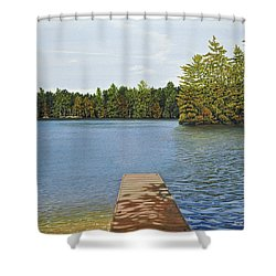 Off The Dock Shower Curtain by Kenneth M  Kirsch