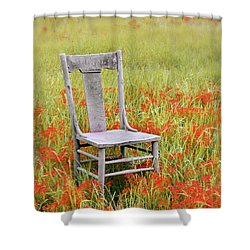 Old Chair In Wildflowers Shower Curtain by Jill Battaglia