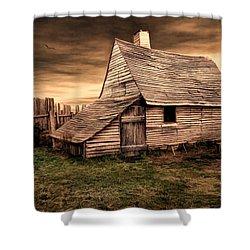 Old English Barn Shower Curtain by Lourry Legarde