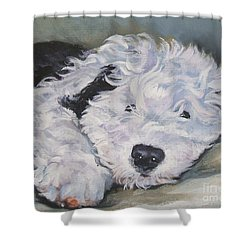Old English Sheepdog Pup Shower Curtain by Lee Ann Shepard