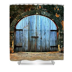 Old Fort Doors Shower Curtain by Perry Webster