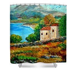 Old House In Mani Shower Curtain by Constantinos Charalampopoulos
