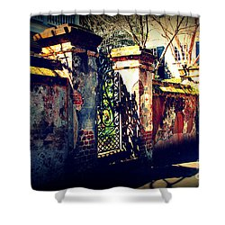Old Iron Gate In Charleston Sc Shower Curtain by Susanne Van Hulst