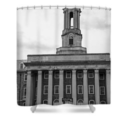 Old Main Penn State Black And White Shower Curtain by John McGraw