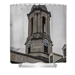 Old Main Penn State Clock  Shower Curtain by John McGraw
