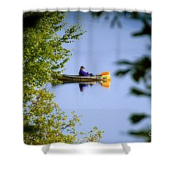 Old Man On The Lake Shower Curtain by David Lee Thompson