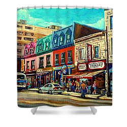 Old Montreal Schwartzs Deli Plateau Montreal City Scenes Shower Curtain by Carole Spandau