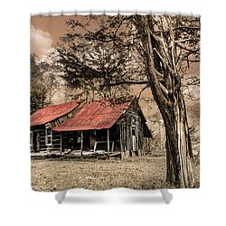 Old Mountain Cabin Shower Curtain by Debra and Dave Vanderlaan