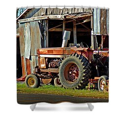 Old Red Tractor And The Barn Shower Curtain by Michael Thomas