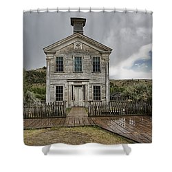 Old School House After Storm - Bannack Montana Shower Curtain by Daniel Hagerman