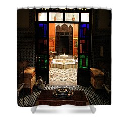 Old Traditional Riad In Fez Shower Curtain by Ralph A  Ledergerber-Photography