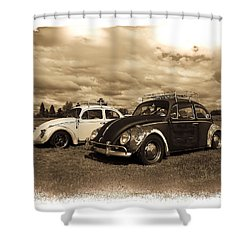 Old Vw Beetles Shower Curtain by Steve McKinzie
