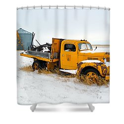 Old Yellow Shower Curtain by Todd Klassy