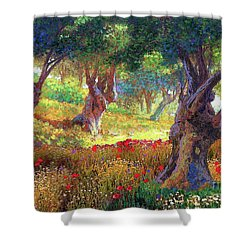 Olive Trees And Poppies, Tranquil Grove Shower Curtain by Jane Small