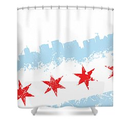 Chicago Flag Lean Shower Curtain by Mike Maher