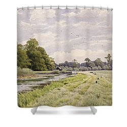 On The River Ouse Hemingford Grey Shower Curtain by William Fraser Garden