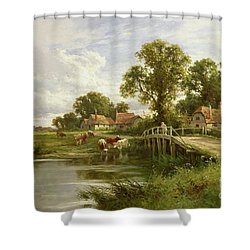 On The Thames Near Marlow Shower Curtain by Henry Parker
