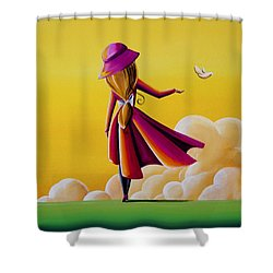 On The Wings Of A Dove Shower Curtain by Cindy Thornton