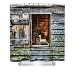 Open Window In Pioneer Home Shower Curtain by Jill Battaglia