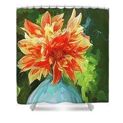 Orange Dahlia - Square Shower Curtain by Jai Johnson