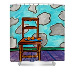 Oranges On A Blue Plate Shower Curtain by John  Williams