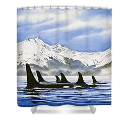 Orca Shower Curtain by James Williamson
