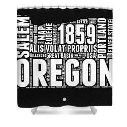 Oregon Black And White Map Shower Curtain by Naxart Studio