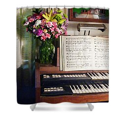 Organ And Bouquet Of Flowers Shower Curtain by Susan Savad