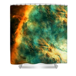 Orion Nebula Fire Sky Shower Curtain by The  Vault - Jennifer Rondinelli Reilly