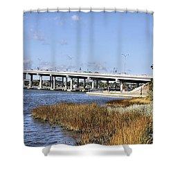 Ormond Beach Bridge Shower Curtain by Deborah Benoit