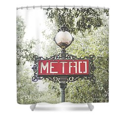 Ornate Paris Metro Sign Shower Curtain by Ivy Ho