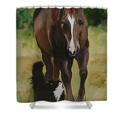 Oscar And Friend Shower Curtain by Jean Blackmer