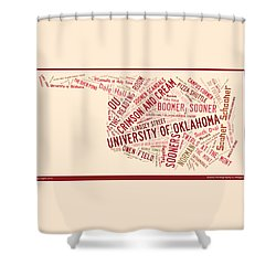 Ou Word Art University Of Oklahoma Shower Curtain by Roberta Peake