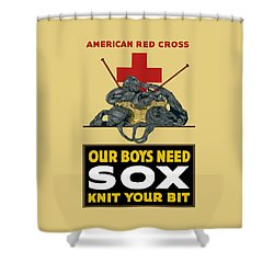 Our Boys Need Sox - Knit Your Bit Shower Curtain by War Is Hell Store
