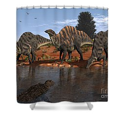 Ouranosaurus Drink At A Watering Hole Shower Curtain by Walter Myers
